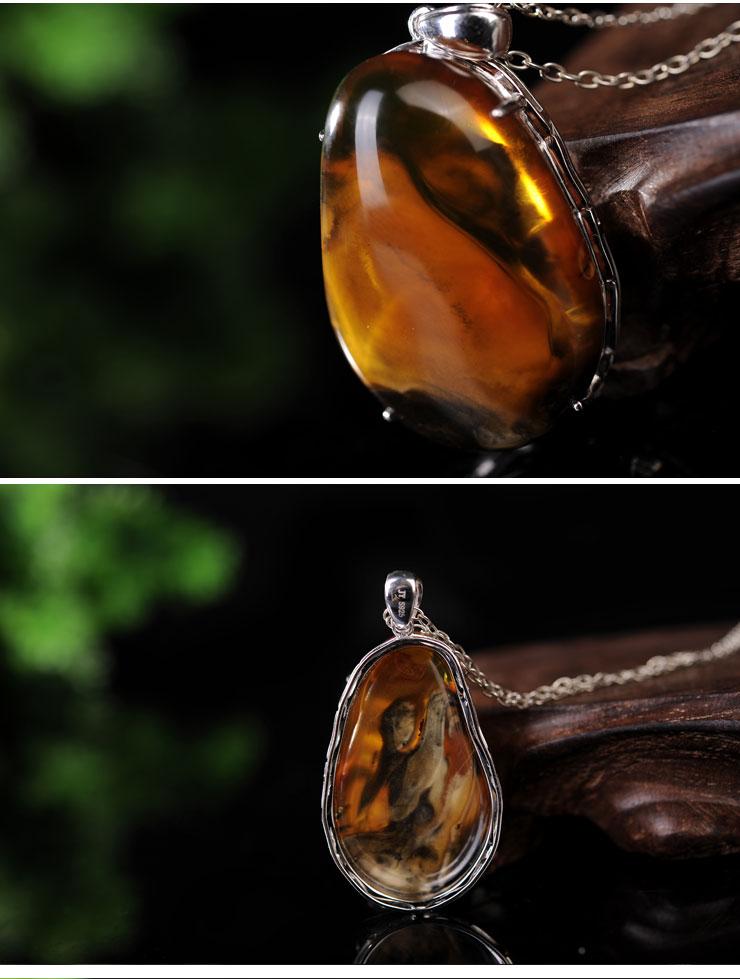 yubaotang/瑜宝堂 天然缅甸琥珀蜜蜡 风景珀镶嵌吊坠
